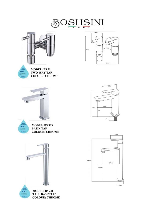 Boshsini bathroom accessories catalogue